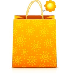 Orange paper shopping bag with sunny pattern vector image vector image