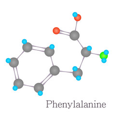 phenylalanine 3d molecule chemical science vector image