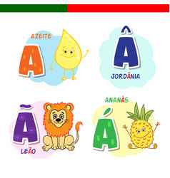 portuguese alphabet olive oil lion pineapple vector image vector image