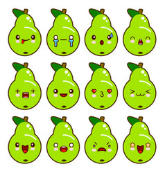 set of green pear characters with different vector image vector image