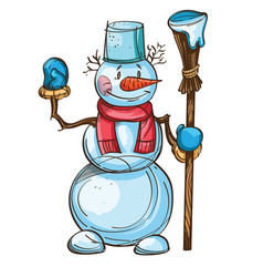 snowman with carrot scarf bucket on the head and vector image vector image