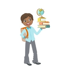 Boy In School Uniform With Books And Globe vector image vector image