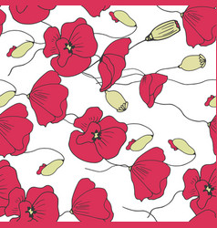 floral poppies seamless pattern vector image