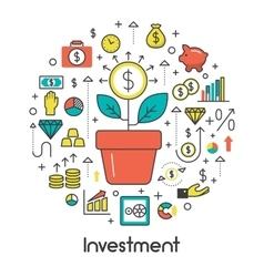 Investment Line Art Thin Icons Set with Money vector image