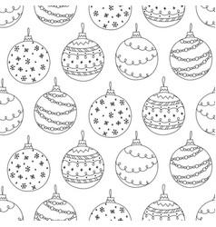 seamless pattern of hand drawn christmas ball toy vector image vector image
