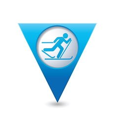 ski track icon on blue triangular map pointer vector image vector image