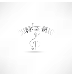 treble clef and music vector image vector image