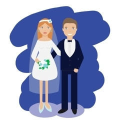 Wedding couple collection Smiling bride and groom vector image