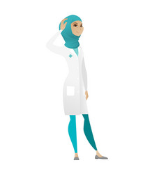 young muslim doctor scratching her head vector image