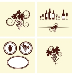 Grape vines elements set vector image vector image