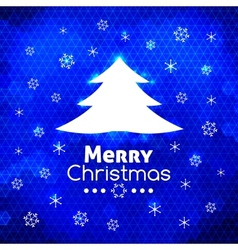 Merry Christmas tree card abstract blue background vector image