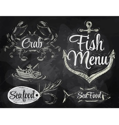 Set collection of seafood chalk vector image
