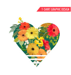 vintage colorful flowers graphic design t-shirt vector image vector image