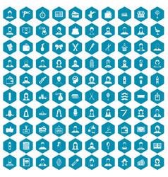 100 hairdresser icons sapphirine violet vector image