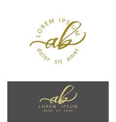 A b initials monogram logo design dry brush vector