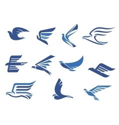 Abstract fast flying blue birds vector image