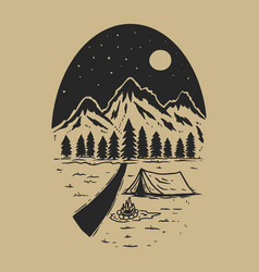 Adventure wild life vintage design with mountains vector