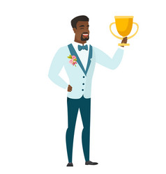 African-american groom holding a trophy vector