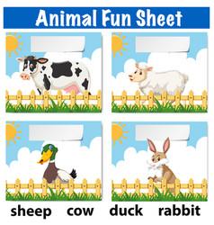 Animal fun sheet concept vector