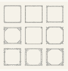 art deco square black frames and borders set vector image