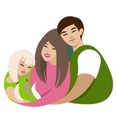 Asian family hugs dad mom daughter cartoon flat vector