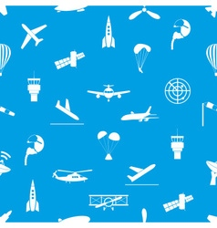 aviation icons blue and white seamless pattern vector image vector image