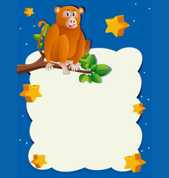 background template with monkey at night vector image