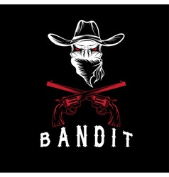 Bandit Skull With Revolvers vector