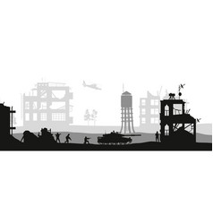 black military silhouettes soldiers assault house vector image