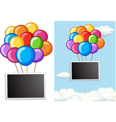 border template with colorful balloons in sky vector image
