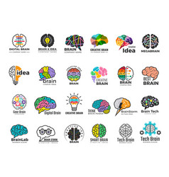 brain logo genius and technology smart mind vector image