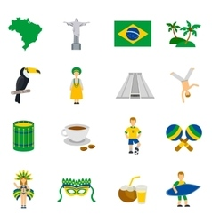 Brazilian Culture Symbols Flat Icons Set vector image