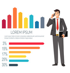 businessman talking on phone partner infocharts vector image