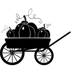 cart with pumpkins silhouette vector image