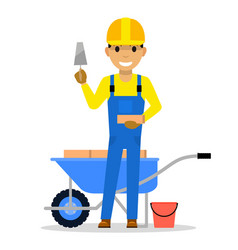 cartoon man bricklayer stands with a brick vector image