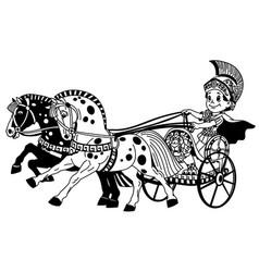 cartoon roman chariot black white vector image