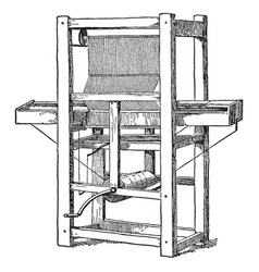 Cartwright first power loom vintage vector
