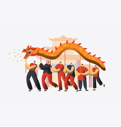 Chinese new year dragon dance festival asian vector
