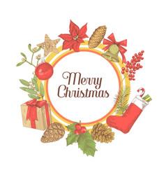 Christmas greeting card new year hand drawn vector