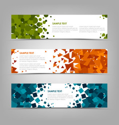 collection abstract horizontal banners with vector image