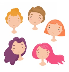 collection cute girls faces vector image