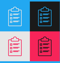 color line clipboard with checklist icon isolated vector image