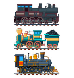Colored cartoon pictures retro trains vector