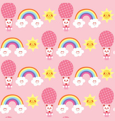cute baby panda bears rainbows clouds vector image