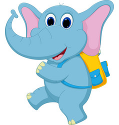 Cute elephant going to school vector