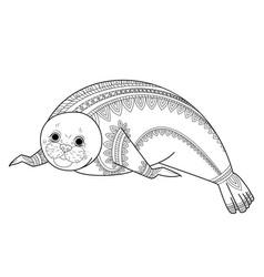 cute seal zentangle phoca zen tangle wild vector image