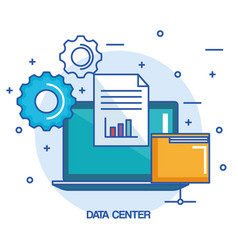 data center laptop computer folder document vector image