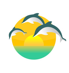 Dolphin jumping sunset scenery vector