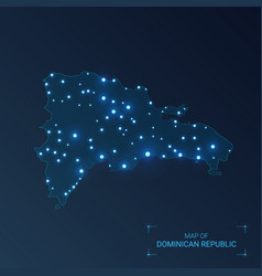 dominican republic map with cities luminous dots vector image
