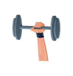 Drawing hand holding dumbbell gym fitness vector